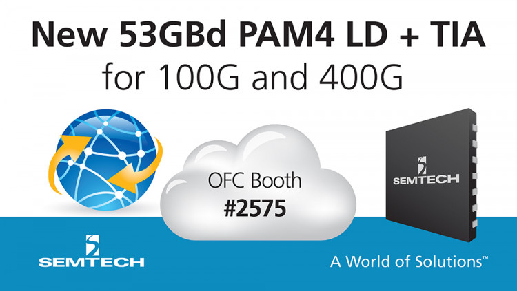 Semtech Demonstrates New 53GBaud PAM4 Linear Driver and Transimpedance Amplifier at OFC 2017 High-performance IC platform supports next-generation 100G optical networking modules