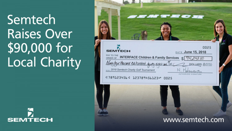 Semtech Raised Over $90,000 for Ventura County Children and Families Donations from the sixth annual charity golf tournament benefit Interface Children & Family Services